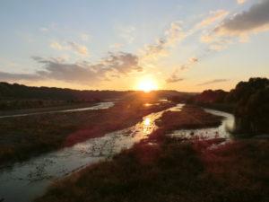 蓬莱橋の夕日